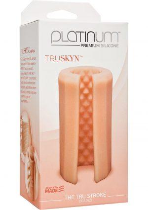 Platinum Premium Silicone Truskyn Tru Stroke Beaded Stroker Masturbator Vanilla