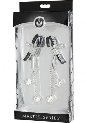Master Series Ornament Adjustable Jewel Nipple Clamps Clear