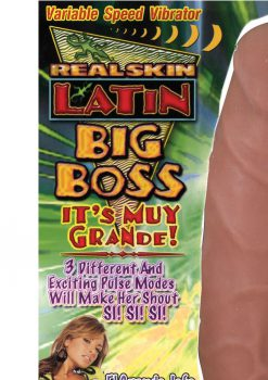 Real Skin Latin Big Boss Vibrator 8 Inch Flesh