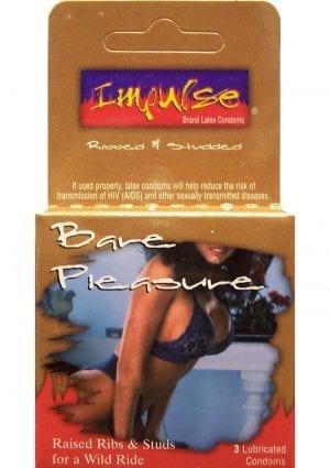 Impulse Condom Bare Pleasure Raised and Ribbed Lubricated 3 Pack