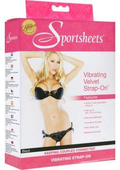 Vibrating Velvet Strap On Harness Black