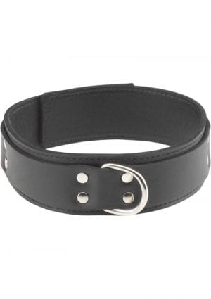 Double Strap Original Cut Leather Collar Black