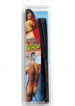 Leather Thong Whip 10 Inch Black