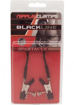 Blackline Adjustable Alligator Nipple Clamps With Rubber Tether Black