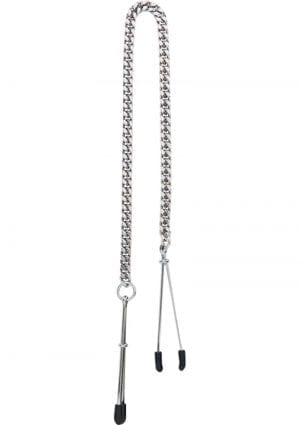 Adjustable Tweezer Nipple Clamps With Jewel Chain Silver