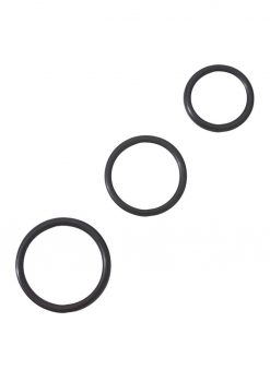 Rubber Cock Ring Set 3 Sizes Per Pack Black