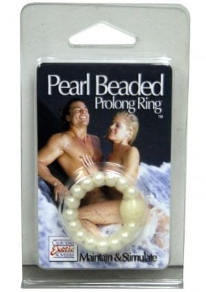 Pearl Beaded Prolong Cock Ring 1.5 inch Diameter Pearl