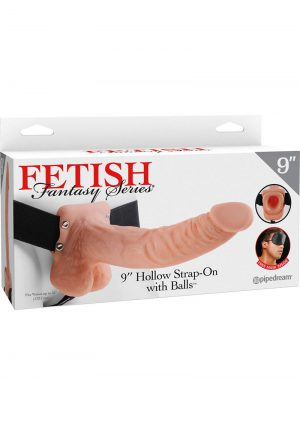 Fetish Fantasy Series Vibrating Hollow Strap On With Balls Flesh 9 Inch