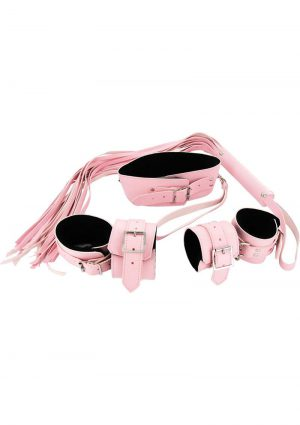 Bondage Set Leatherette And Faux Fur Pink And Black