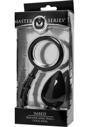Master Series Imbed Silicone Anal Plug Plus Cock Ring Black