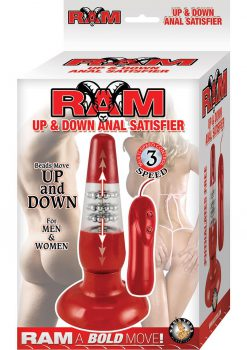Ram Up and Down Anal Satisfier Wired Remote Anal Plug Waterproof Red