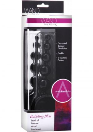 Wand Essentials Bubbling Bliss Beads Of Pleasure Anal Wand Attachment Black 5 Inch