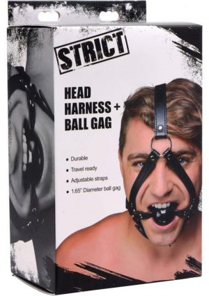 Strict Head Harness And Ball Gag Leather And Metal Black