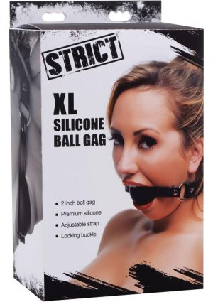 Strict XL Ball Gag Silicone And Leather And Metal Black