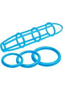 Neon Silicone Cage And Love Ring Set Blue