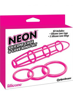 Neon Silicone Cage And Love Ring Set Pink
