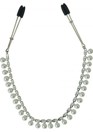 Midnight Pearl Chain Nipple Clips