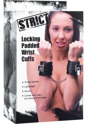 Strict Locking Padded Wrist Cuffs Black