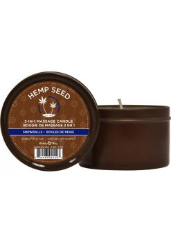 Hemp Seed 3 In 1 Massage Candle Snowballs 6 Ounce Tin Can