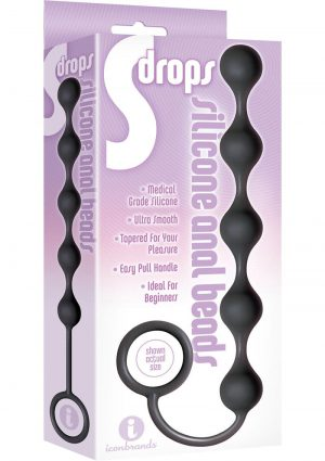 The 9 Drops Anal Beads Black Silicone