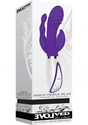 Disco Triple Play 3 Motors Rechargeable Silicone Vibe Waterproof Purple
