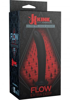 Kink Flow Extra Deep Silicone Anal Douche Accessory Black