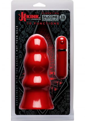 Vibrating Silicone But Plug 7.5' Red