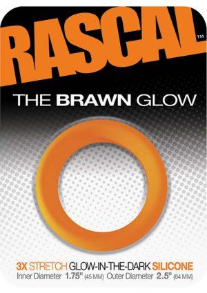 Rascal The Brawn Glow 3x Stretch Silicone Cock Ring Glow In The Dark Orange