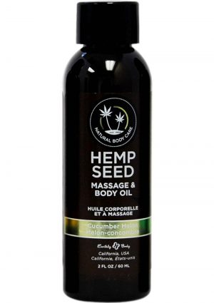 Earthly Body Hemp Seed  Cucumber-Melon Massage and Body Oil  2 Ounces