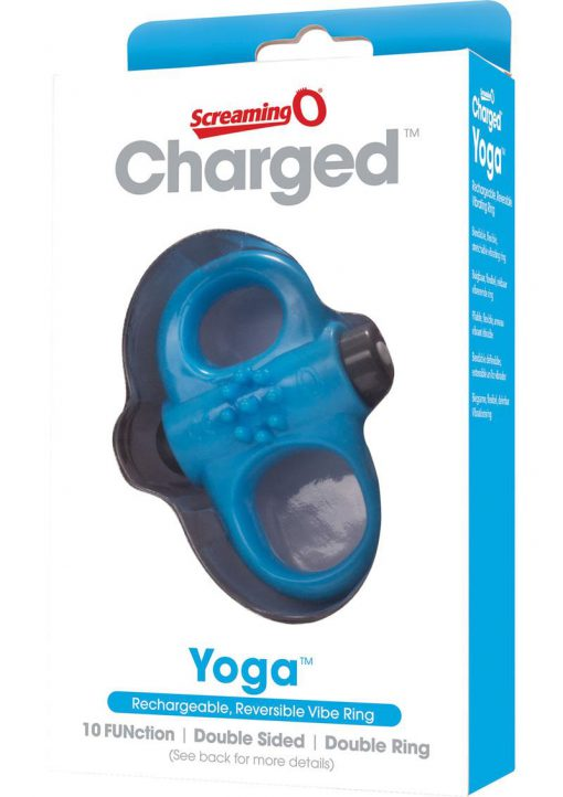 Charged Yoga Rechargeable Silicone Waterproof Cock Ring Blue