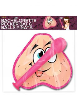 Bachelorette Pecker Bat and Balls Pinata Combo Pink