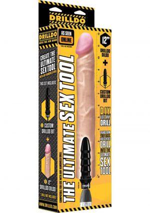 Drilldo Dildo Vac U Lock Compatible Drilldo Bit Dong Skin 12 Inch