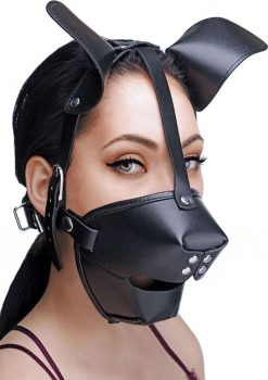 Master Series Puppy Play Hood And Breathable Ball Gag Black