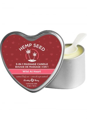 Hemp Seed 3 In 1 Massage Candle 100% Vegan Wild At Heart 4 Ounce