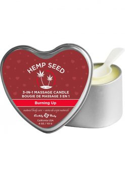 Hemp Seed 3 In 1 Massage Candle 100% Vegan Burning Up 4 Ounce