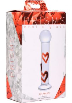 Prisms Lil Hearts Glass Plug With Raised Heart Texture Clear/Red