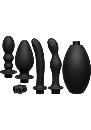 Kink Flow Full Flush Silicone Set Anal Douche And 4 Accessories Waterproof Black