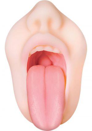 Zero Tolerance Real Mouth Stroker DVD Masturbator Lube Kit Flesh