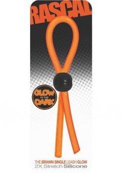 Rascal The Brawn Single Leash Glow Silicone Orange