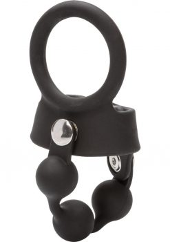 Weighted Ball Spreader Silicone Cockring Black