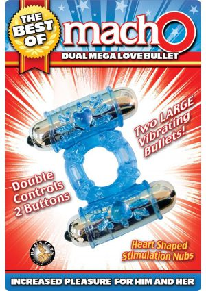 The Best Of MachO Dual Mega Love Bullet Cockring Blue