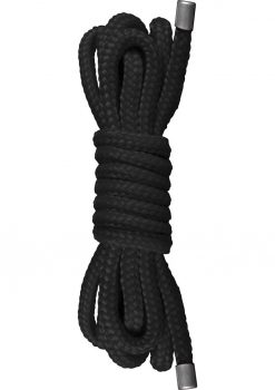 Ouch Japanese Soft Nylon Braided Mini Rope Black 1.5 Meters/4.9 Feet
