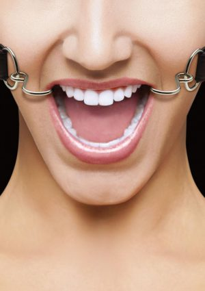 Ouch! Hook Gag With Leather Strap Black And Silver