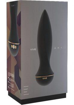 Vive Aki Silicone USB Rechargeable Anal Plug Waterproof Black