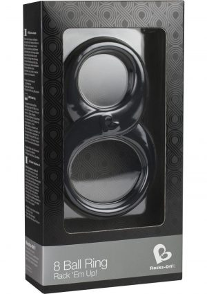 Rocks Off 8 Ball Ring Rack Em Up Platinum Silicone Double Ring Black