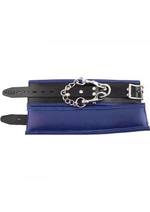 Rouge Padded Leather Wrist Cuffs Adjustable Black And Blue