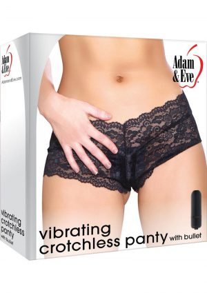 Adam and Eve Vibrating Cheeky Crotchless Black