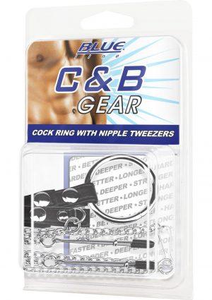 C & B Gear Cock Ring With Nipple Tweezers