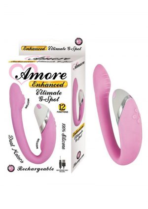 Amore Enhanced Ultimate G-Spot Dual Motors USB Rechargeable Silicone Vibe Waterproof Pink 5 Inch