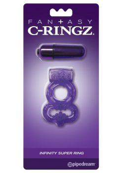 Fantasy C-Ringz Vibrating Infinity Super Ring Textured Cockring Waterproof Purple